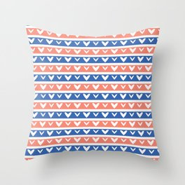 1950s Style Retro Love Heart Stripes Seamless Pattern Throw Pillow