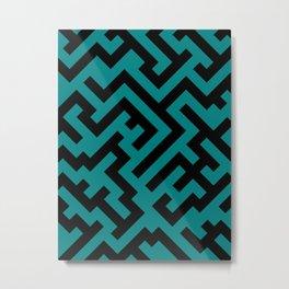 Black and Teal Green Diagonal Labyrinth Metal Print
