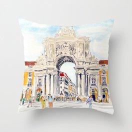 Praça do Comércio, Lisboa Throw Pillow