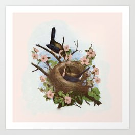 Vintage Birds with Nest Pink Art Print