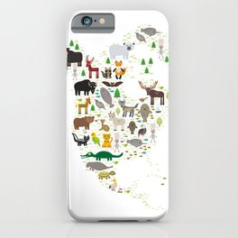 Map of North America with Animals bison bat manatee fox elk horse wolf partridge seal Polar bear iPhone Case