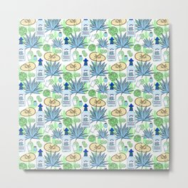 Tequila and Blue Agave Pattern Metal Print
