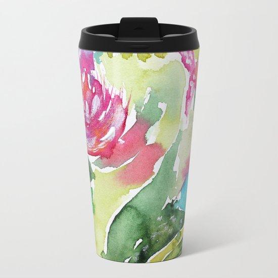 Floral abstraction || watercolor Metal Travel Mug