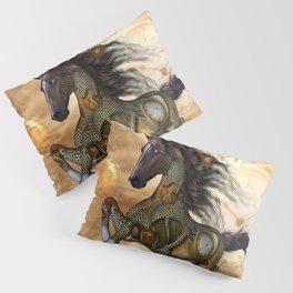 Steampunk, awesome steampunk horse Pillow Sham
