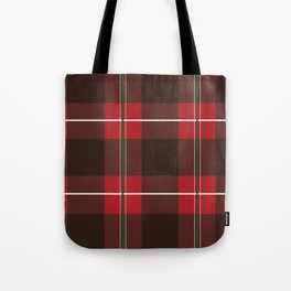 Red, Black and Green Striped Plaid Tote Bag