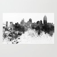 cincinnati Area & Throw Rugs featuring Cincinnati skyline in black watercolor by Paulrommer