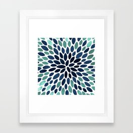 Flower Bloom, Aqua and Navy Framed Art Print