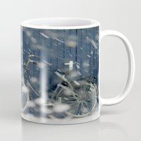 cycling Mugs featuring Snow Cycling by Art de L'aube
