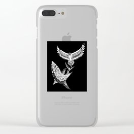 The shark and the eagle back in black Clear iPhone Case