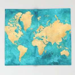 """Teal watercolor and gold world map with countries and states """"Lexy"""" Throw Blanket"""