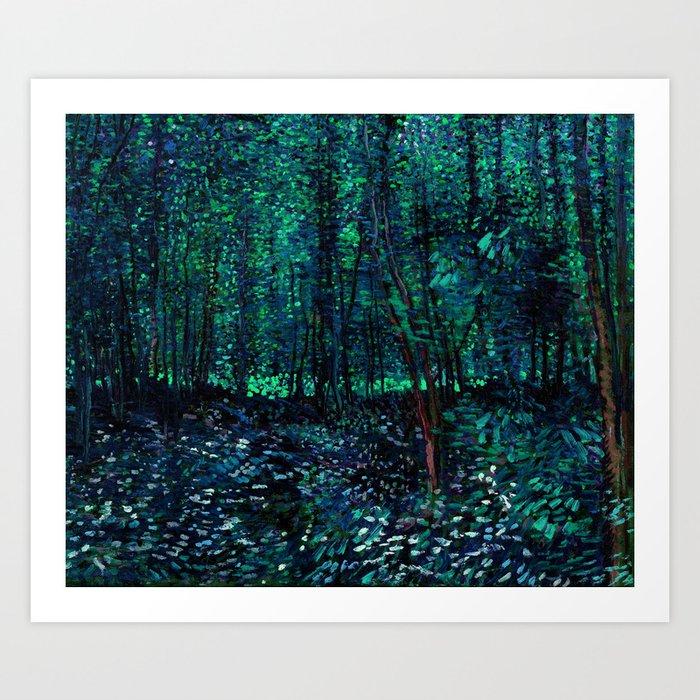 Vincent Van Gogh Trees & Underwood Teal Green Kunstdrucke
