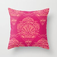 damask Throw Pillows featuring Damask by cactus studio