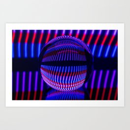 Red and Blue in the glass ball Art Print