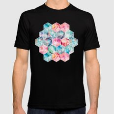 Translucent Watercolor Hexagon Cubes Black MEDIUM Mens Fitted Tee