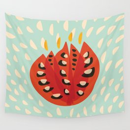 Red Abstract Tulip Wall Tapestry