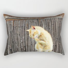 stray cat on the fence Rectangular Pillow