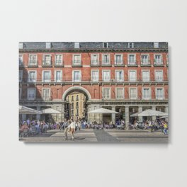 Relaxing cup in Plaza Mayor, Madrid Metal Print