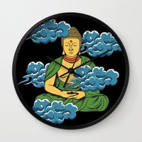 buddah Wall Clocks featuring Sakyamuni Buddah In The Clouds by Sarah Eldred