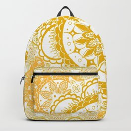 Orange Kaleidoscope Patterned Mandala Backpack