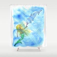 Mermaid and Dolphin - Nautical Ocean Art Shower Curtain