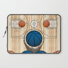 Colorful Blue basketballs on a Basketball Court Laptop Sleeve
