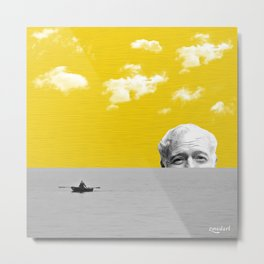 Ernest Hemingway | Old man and the Sea | Digital Collage Art Metal Print