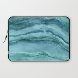Watercolor Agate - Teal Blue Laptop Sleeve