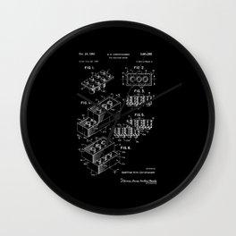 Lego: Original Patent - White on Black Wall Clock