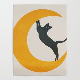 Moon and Cat Poster