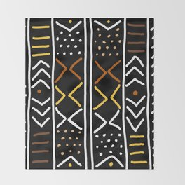 Abstract African Mudcloth Throw Blanket