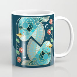 Beautiful Art Deco Midnight Bluebirds And Blossoms Coffee Mug