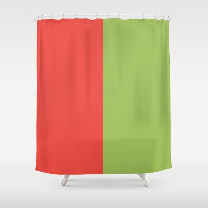 Scarlet And Lime Shower Curtain By Margybengal