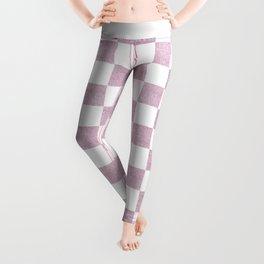 Elegant pink glitter chevron checkers pattern Leggings