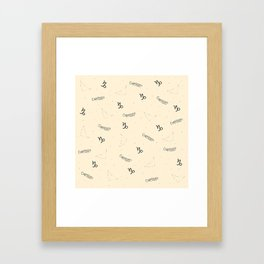 Capricorn Pattern - Beige Framed Art Print