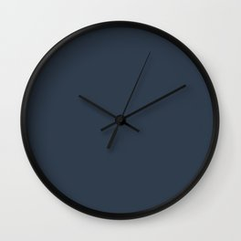 Dark Navy Blue Solid Color Pairs with Sherwin Williams 2021 Trending Color - Naval SW6244 Wall Clock