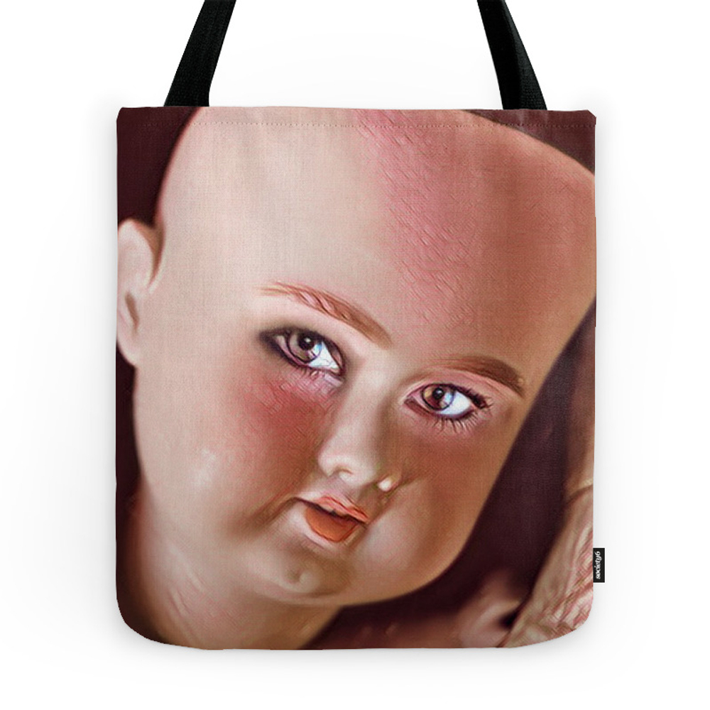 Pink Doll Face Tote Purse by alexandraolivierlecomte (TBG7643984) photo
