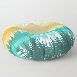 Summer Mountain Sunrise Floor Pillow