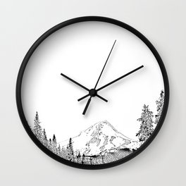 Mount Hood Oregon Black & White Sketch Wall Clock