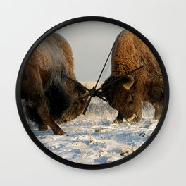 BISON FIGHTING Wall Clock