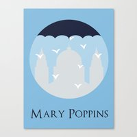 mary poppins Canvas Prints featuring Mary Poppins by Citron Vert