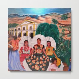 Zapotec Women and Indigenous Dress, Tehuantepec, Isthmus Region, Oaxaca, Mexico portrait painting Metal Print