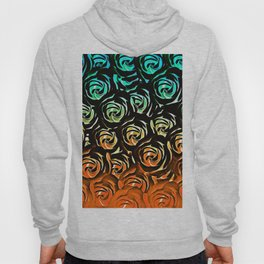 rose pattern texture abstract background in blue green orange Hoody