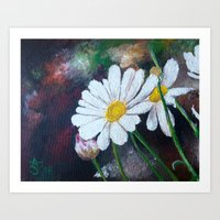 pushing daisies Art Prints featuring Daisies  by ANoelleJay