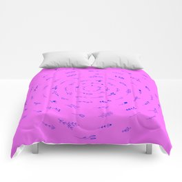 Minimalist Spring Floral Cyclone (Blue on Pink) Comforters