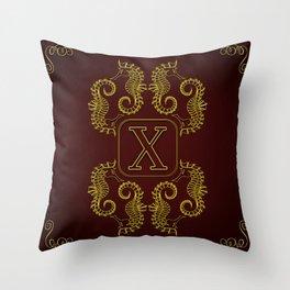 Monogram X seahorse Throw Pillow