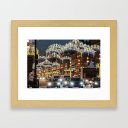 Light decorations on Nevsky Prospect. Framed Art Print