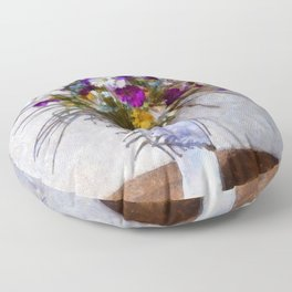 Mixed Flowers in a Vase. (Painting) Floor Pillow