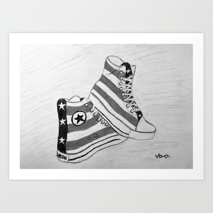black and white rock and roll Art Print