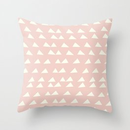 Scattered Triangles in Blush and Cream Throw Pillow