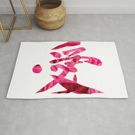 Japanese calligraphy & rose photography - Love Rug